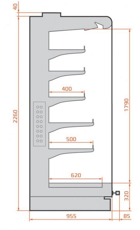 RCO Octans 05 1,25 - Hűtött faliregál