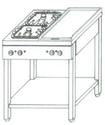 KGO-427 M - 4 égős gáz főzőasztal 1 ráccsal és 1 melegítőlappal