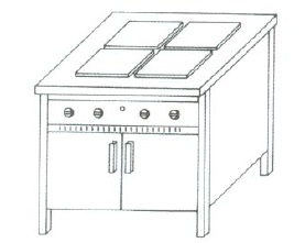 NTV-1421 - 4 főzőlapos elektromos főzőasztal alsó tárolóval