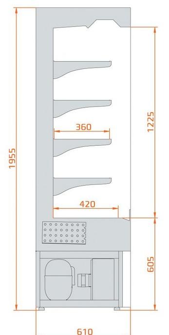 RCV Vera Inox 1,0 - Rozsdamentes hűtött faliregál